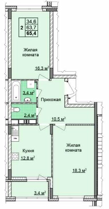 Продажа 2-комнатной новостройки, Нижний Новгород, Академика Сахарова ул