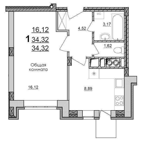 Продажа 1-комнатной квартиры, Дубовое, Чудесная,  2